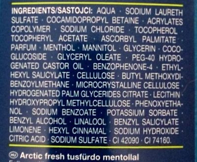 Arctic Fresh Duschgel - Ingredients
