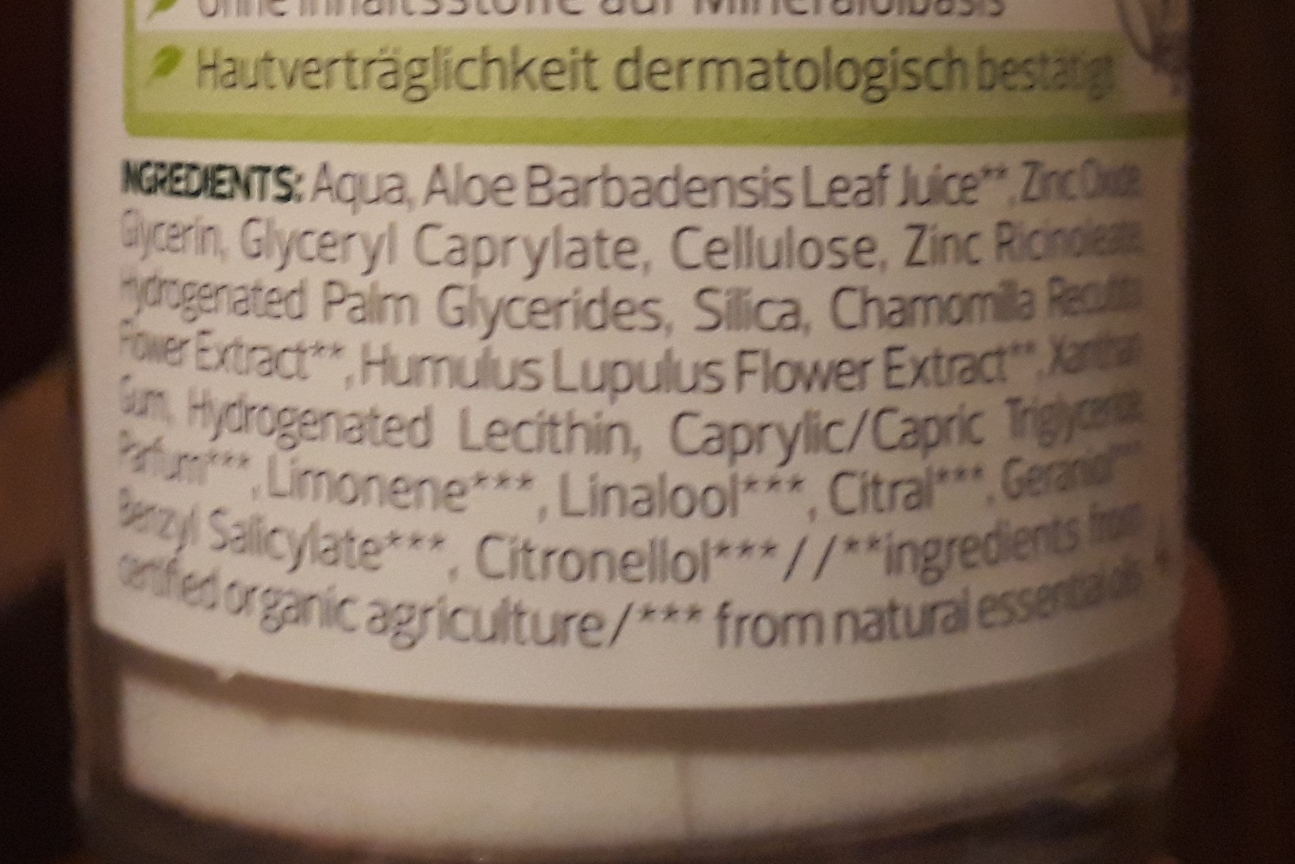 Deo Roll-on - Ingredients