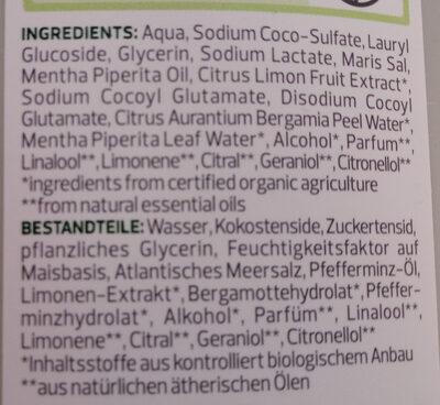 Pflegedusche Bio-Minze Bio-Bergamotte - Ingredients