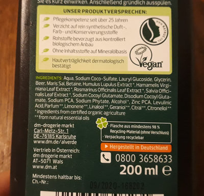 Active Nature Shampoo - Ingredients