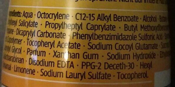 Sonnenschaum - Ingredients - de