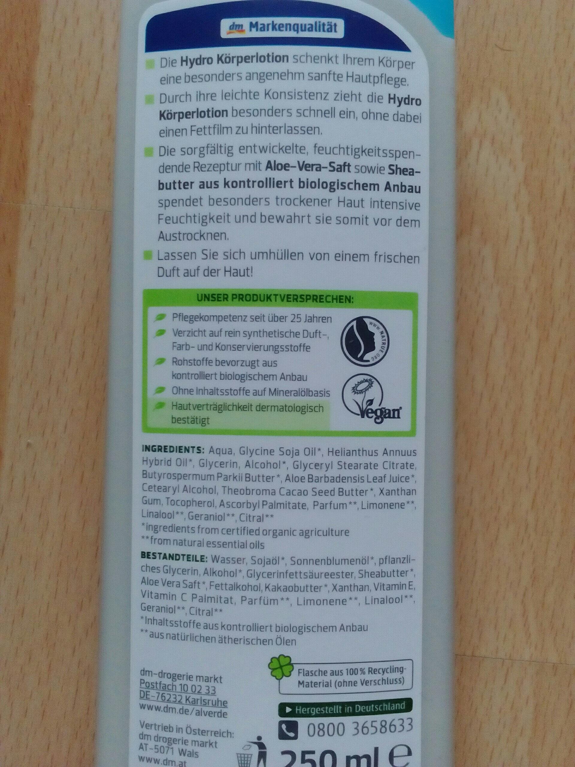 Hydro Körperlotion Bio-Aloe Vera - Product - en