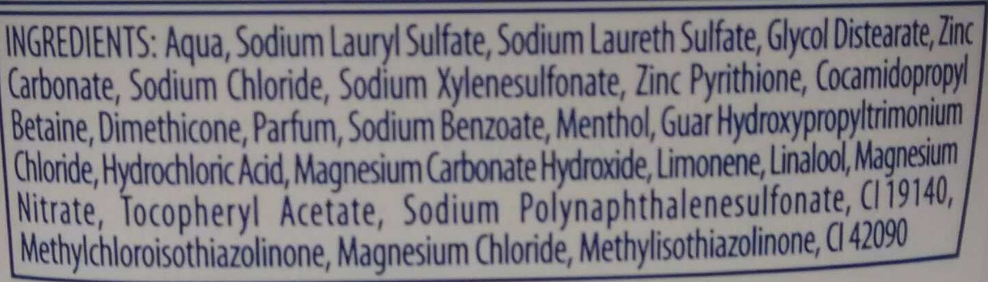 Shampooing antipelliculaire anti-chute - Ingredients