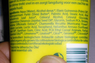 Crème pour les mains Aloe+verveine bio - Ingredients