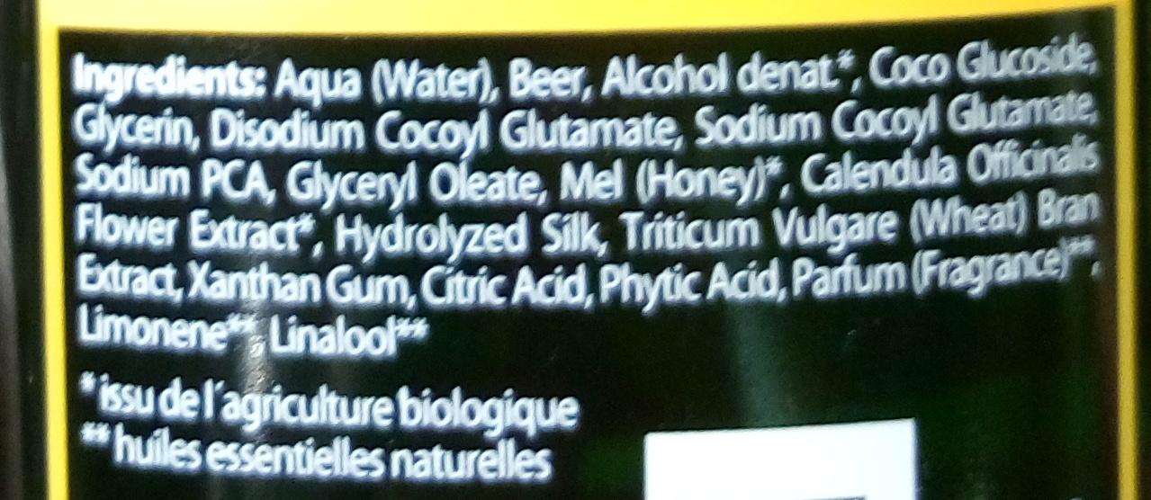 Shampooing volumateur au miel et à la bière - Ingredients - fr
