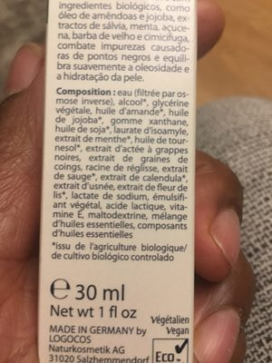 Fluide Hydratant Menthe Bio - 30 ML - Logona - Ingredients