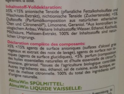 Spülmittel Wildrose Melisse - Ingredients