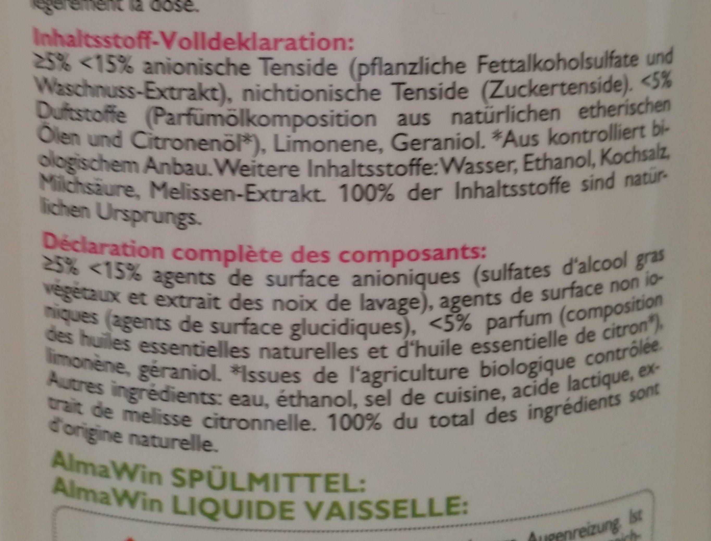 Spülmittel Wildrose Melisse - Ingredients