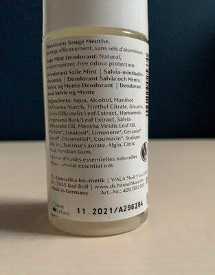 Déodorant Sauge Menthe - Ingredients - en