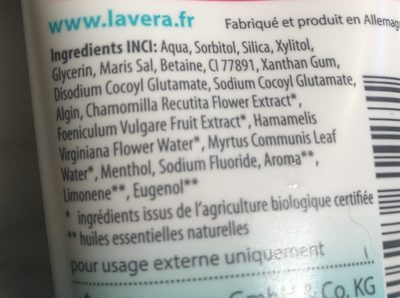 Dentifrice Dents Sensibles - Ingredients