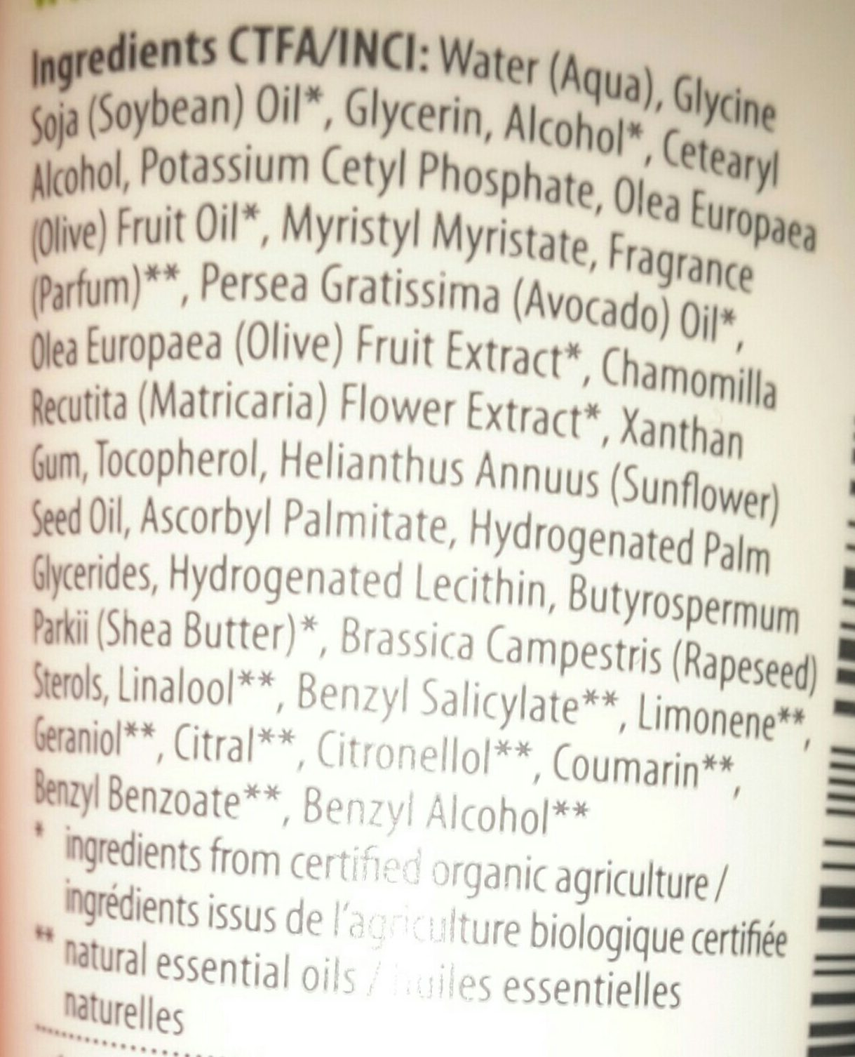 Crème mains et ongles - Ingredients