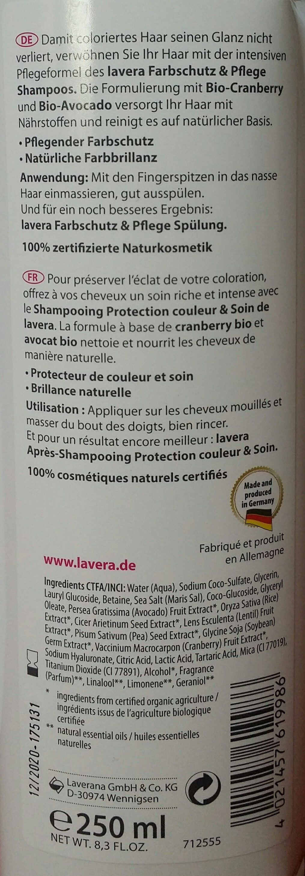 Shampooing protection couleur & soin - Ingredients