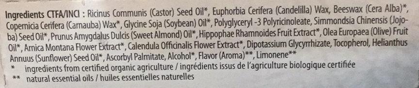 Baume à lèvres - huile de jojoba bio & huile d'amande bio - Ingredients - fr
