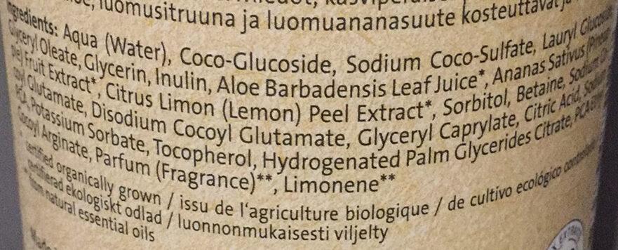 Gel douche Ananas bio & Citron vert - Ingredientes - fr