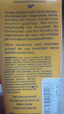 Teebaumöl - Classik Hand Creme - Ingredients - de