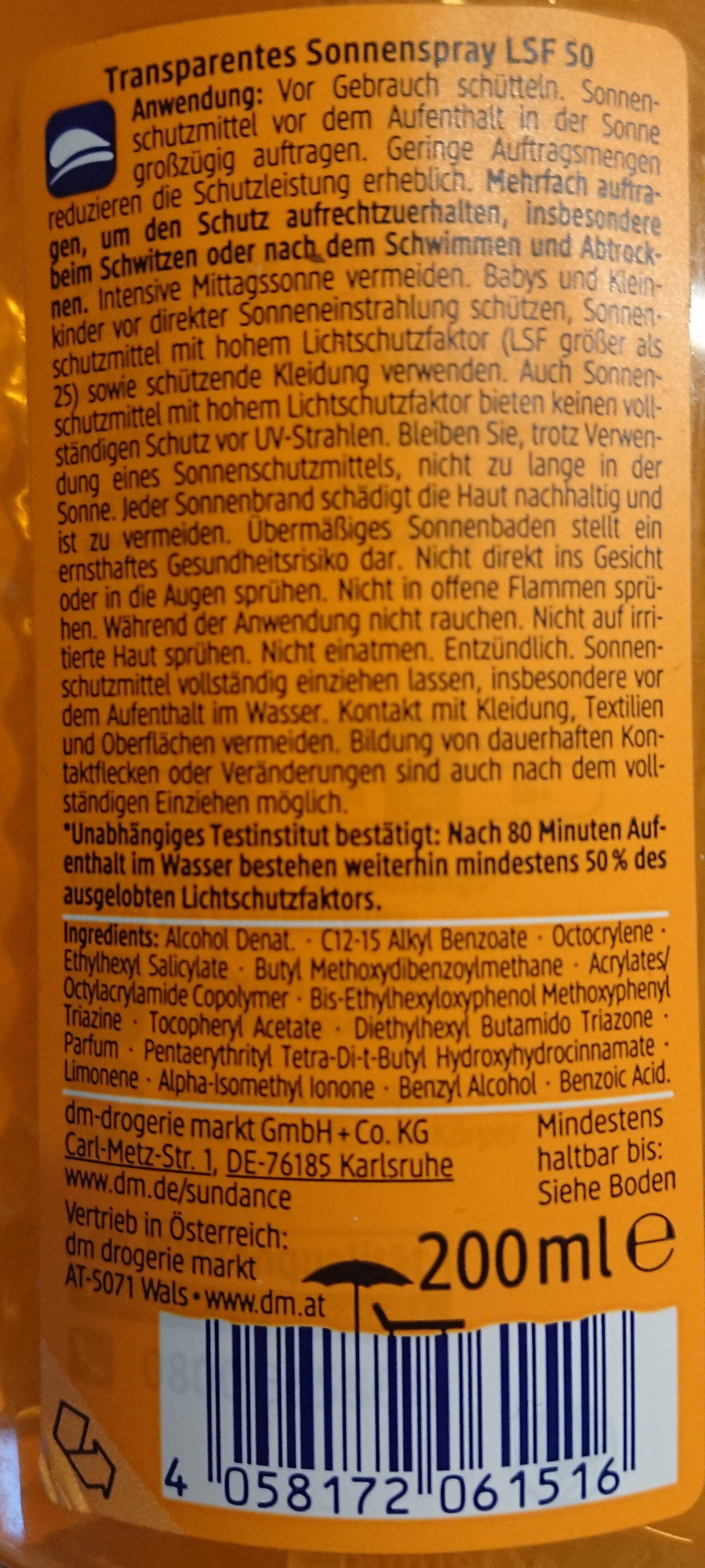 Transparentes Sonnenspray LSF 50 - Product - en