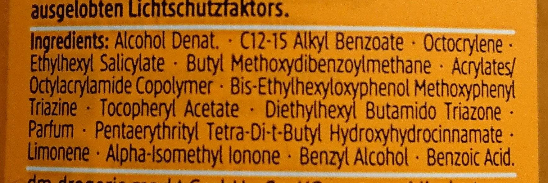 Transparentes Sonnenspray LSF 50 - Ingredients - de