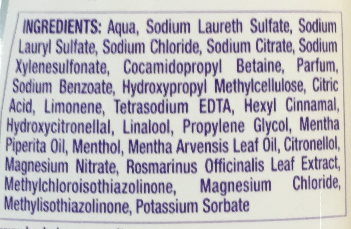 Nude 0% Shampoo - Ingredients