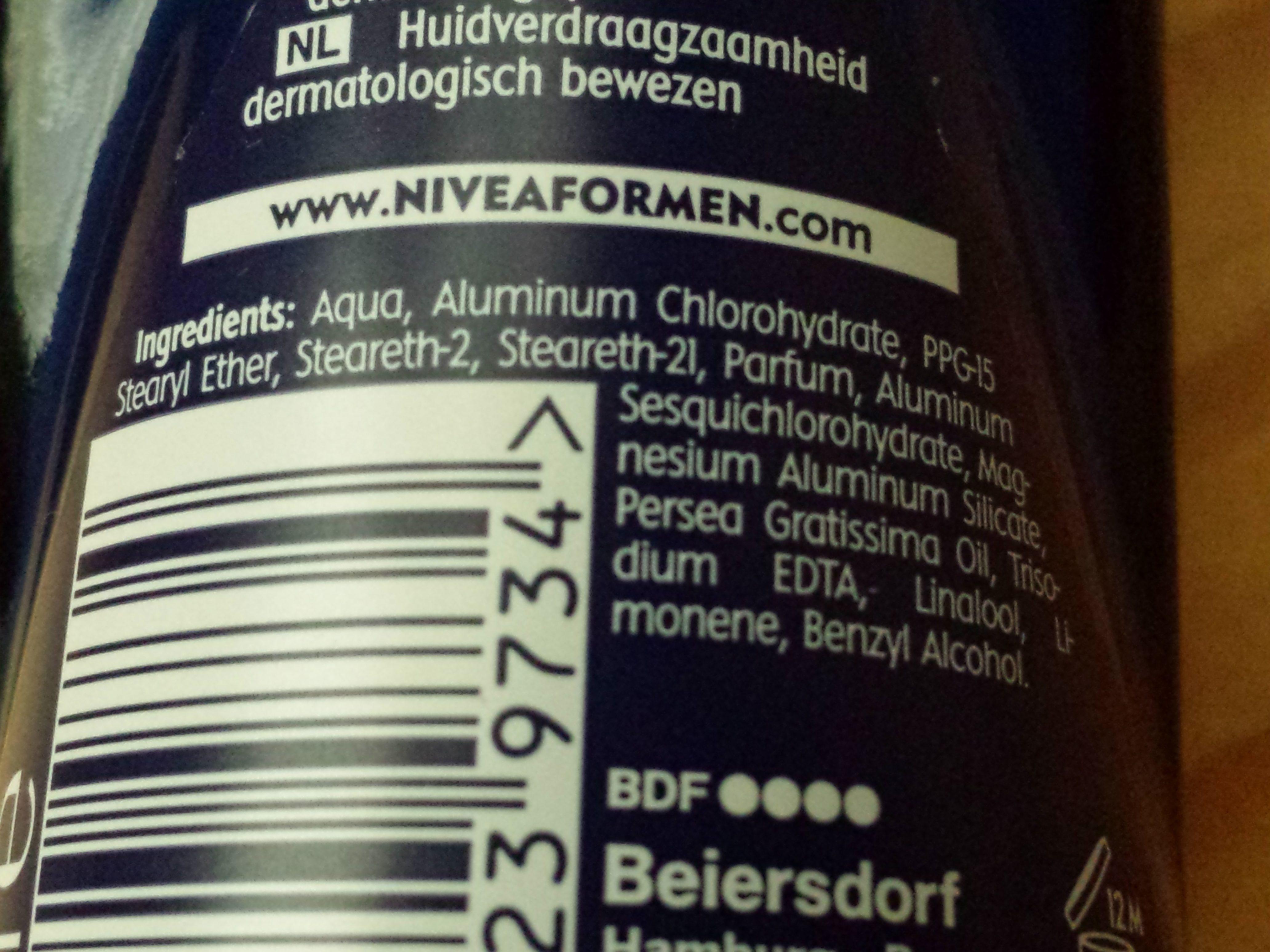 Nivea Men Dry Impact - Ingredients - en