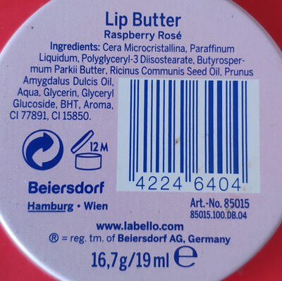 Lip Butter - Ingredients