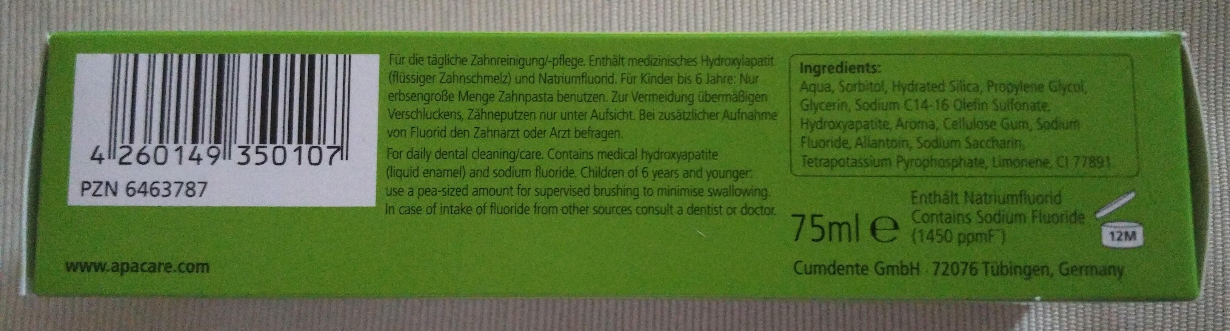 Care Zahncreme (Flüssiger Zahnschmelz) - Product - en