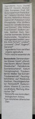 Hydro Tagescreme Bio-Traube & Bio-Weisser Tee - Ingrédients - de