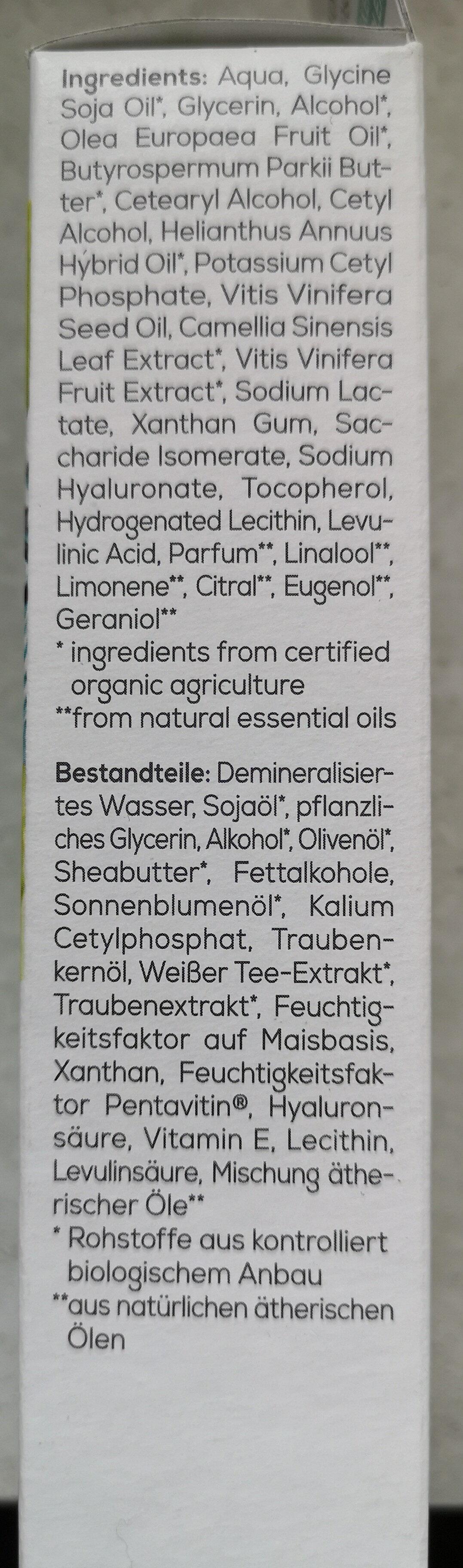 Hydro Tagescreme Bio-Traube & Bio-Weisser Tee - Ingredients - de