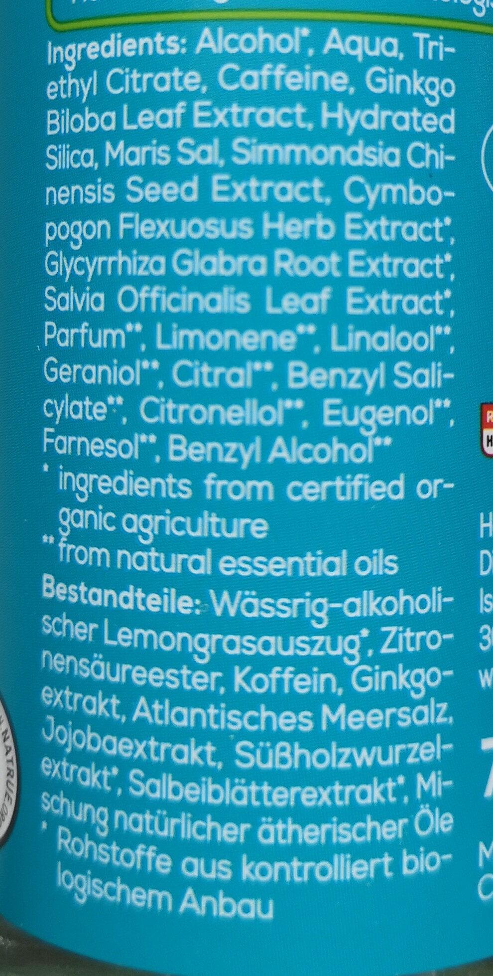 Sport Deo-Spray Bio-Lemongras, Koffein - Ingredients - de