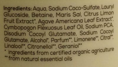 Duschgel Bio-Limette & Bio-Agave - Ingredients