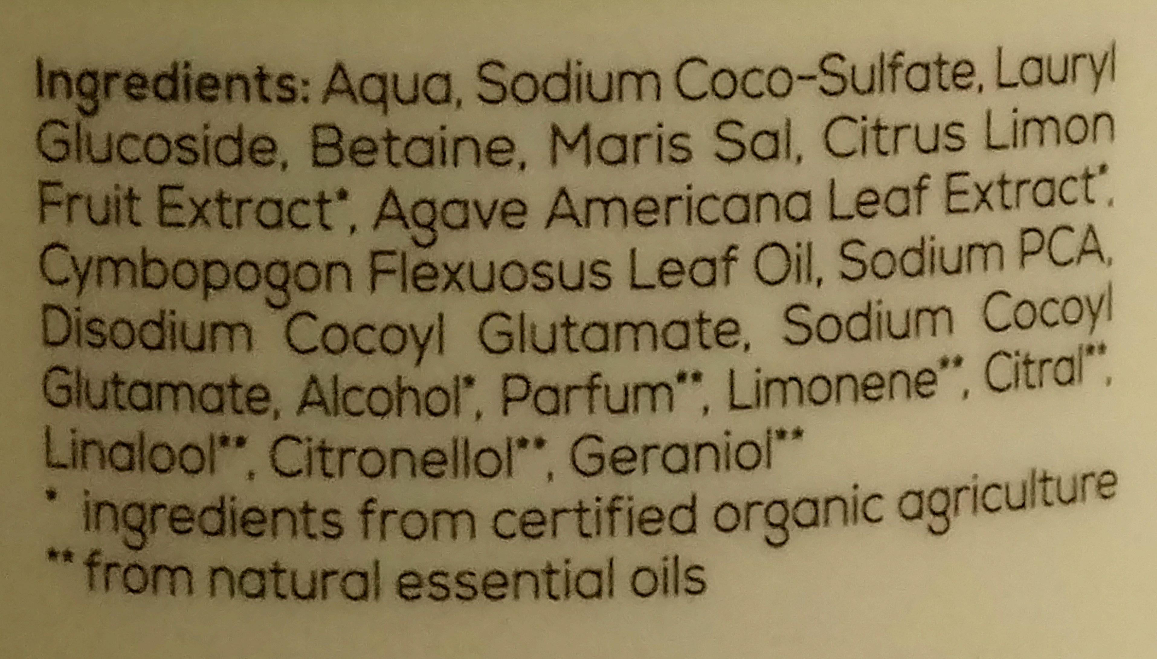 Duschgel Bio-Limette & Bio-Agave - Ingredients