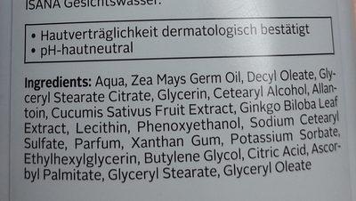 Isana Clean and Care Milde Reinigungsmilch - Ingredients - de