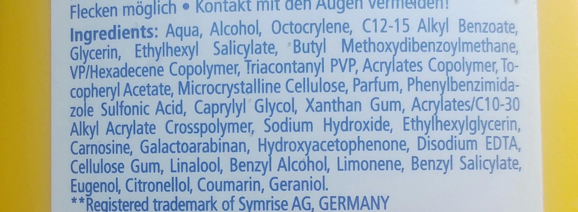 Sonnenmilch - Ingredients - de