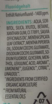 Blütezeit erfrischende Zahncreme mit Bio-Nanaminze - Ingredients