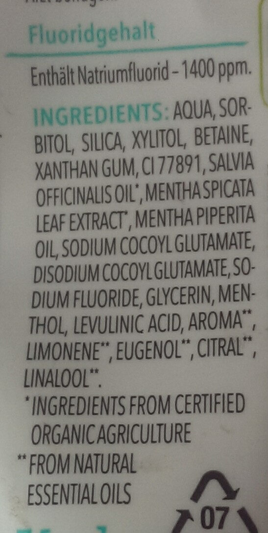 Blütezeit erfrischende Zahncreme mit Bio-Nanaminze - Ingrédients - de