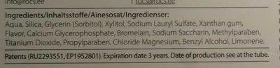 R.O.C.S. Chocolate & Mint - Ingredients - fr