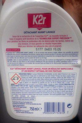 K2r Détachant avant lavage - Ingrédients - fr