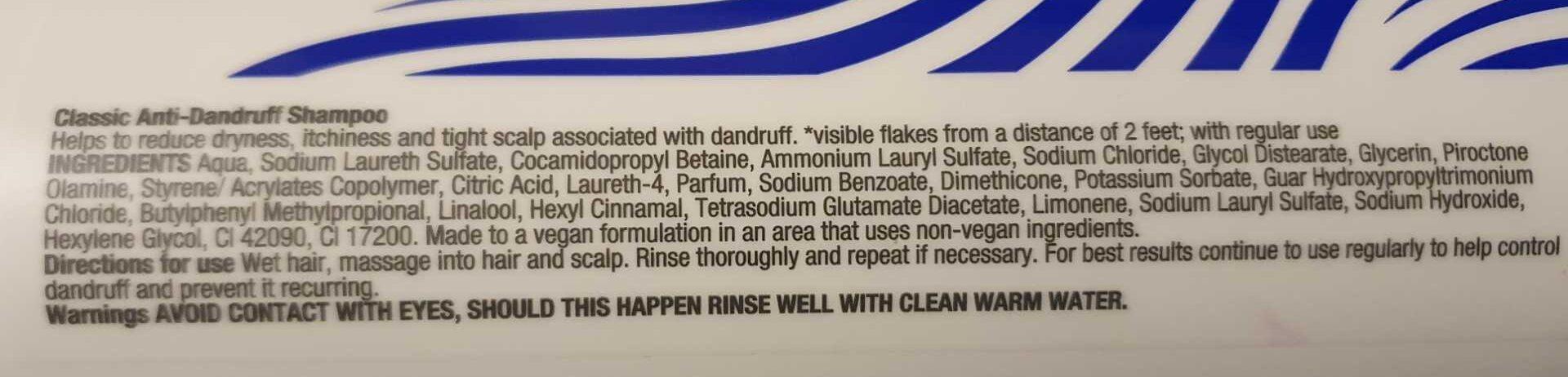 Classic anti dandruff shampoo - Ingredients - en