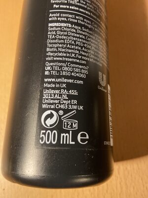 Tresemmé shampoo and conditioner - Recycling instructions and/or packaging information - en