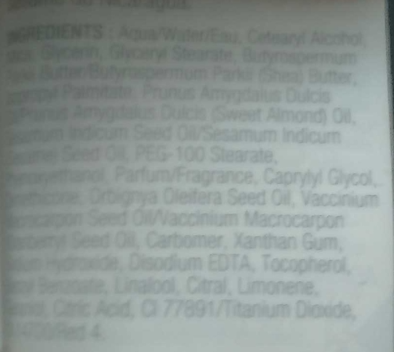 Canneberge givrée - lotion scintillante - Ingredients