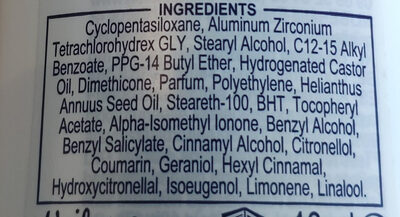 Invisible dry deodorant - Ingredients