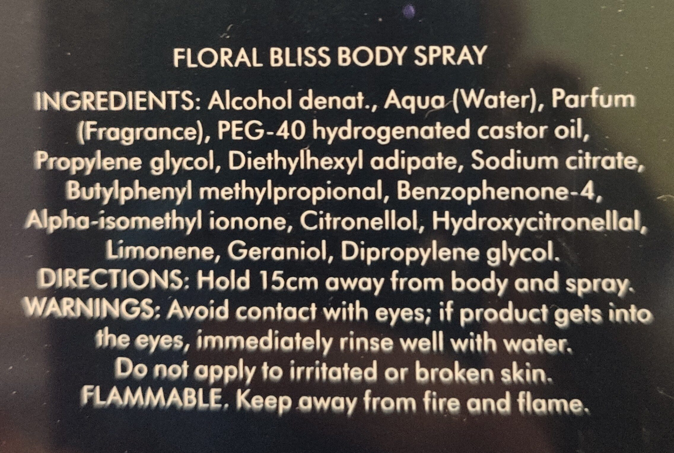 floral bliss body spray - Ingrédients - en