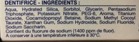 Dentifrice Soin Blancheur - Ingrédients