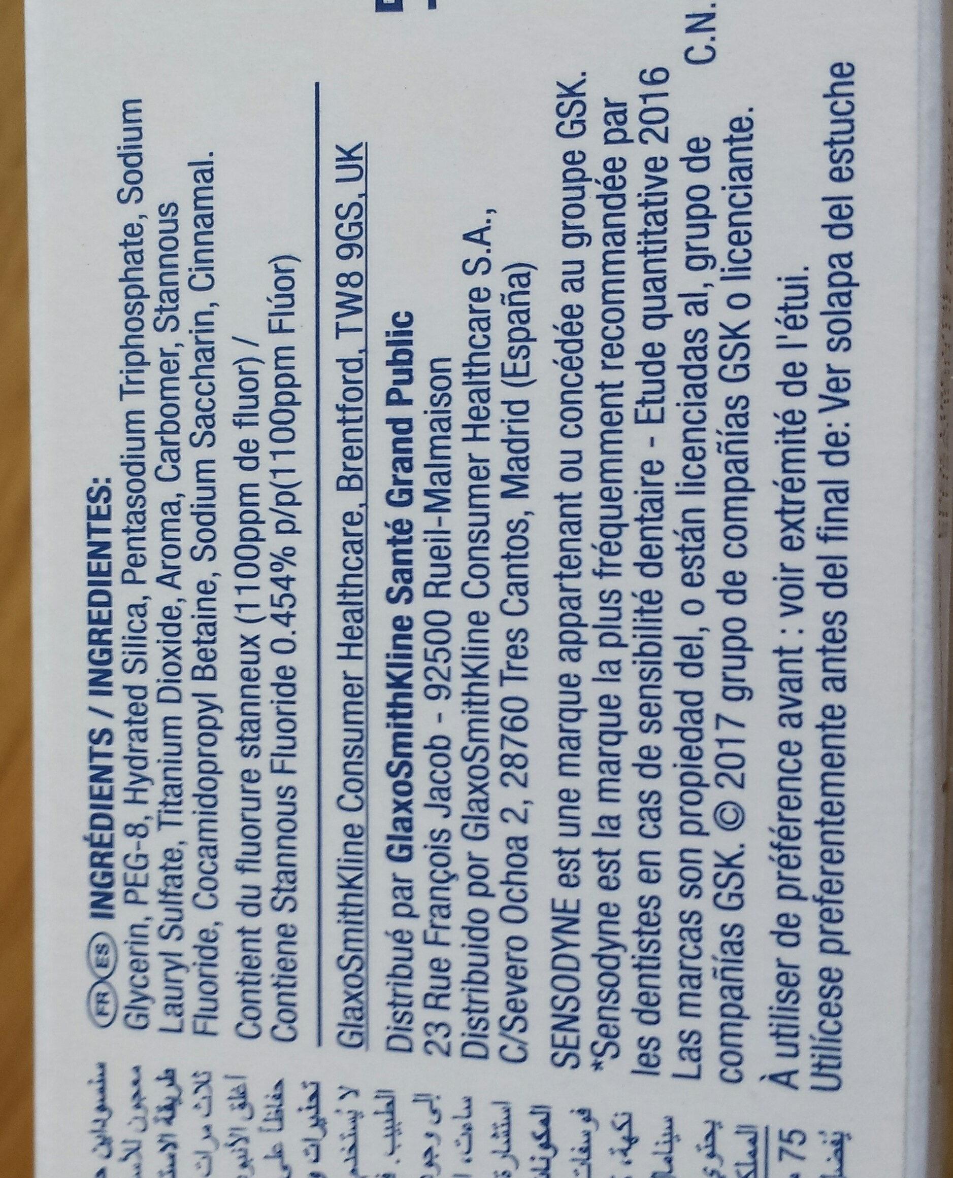 SENSODYNE multi protection blancheur - Ingredients - fr