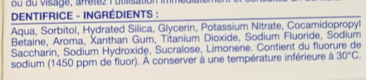 Action sensibilité - Ingredients - fr