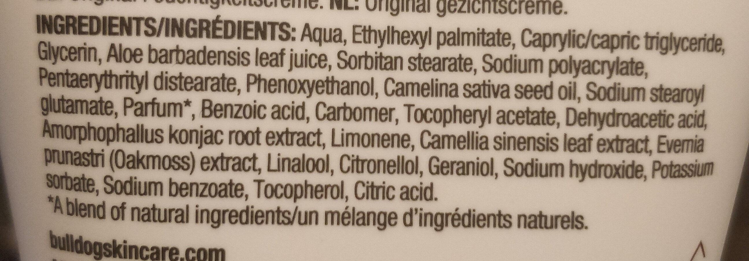 Bull Dog soin hydratant - Ingredients - fr