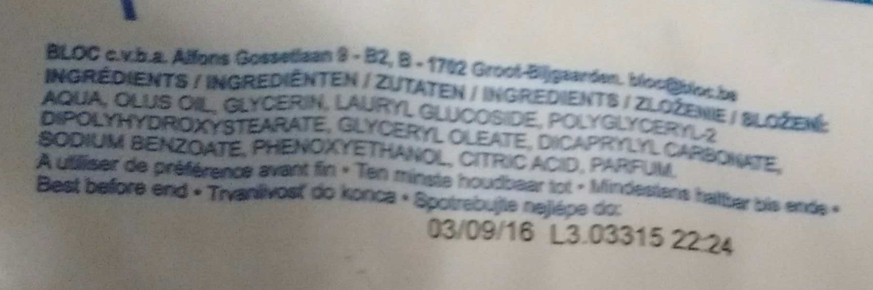 72 lingettes Bébé ultra douces - Ingredients