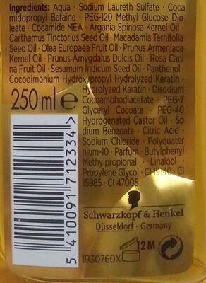 Gliss Kur - Hair repair -  Oil Nutritive Shampoo - Ingredients