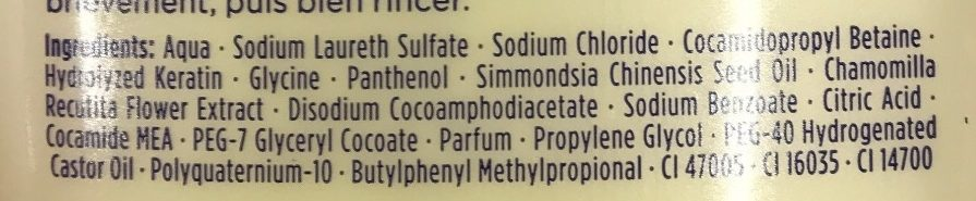 Shampoo fréquence - Ingredients