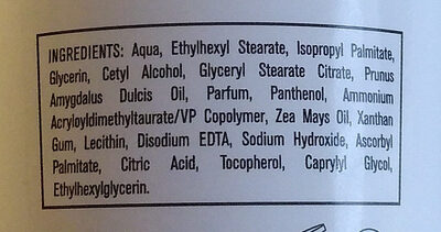 lait corporel - Ingredients - fr