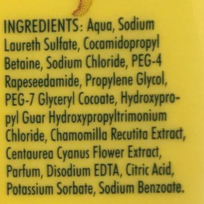 Shampooing à l'extrait de camomille et bleuet Extra Doux - Ingredients